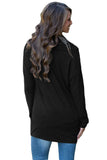 Black Buttoned Cowl Neck Long Top