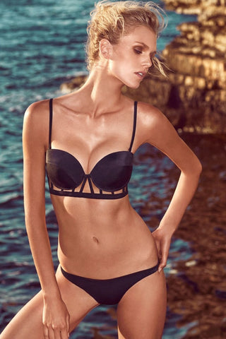 Black Cage Designed Long Line Bikini