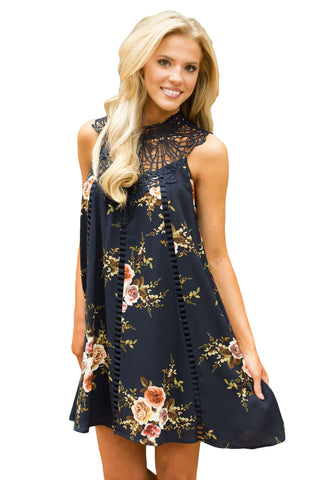 Black Crochet Lace Neck Floral Dress