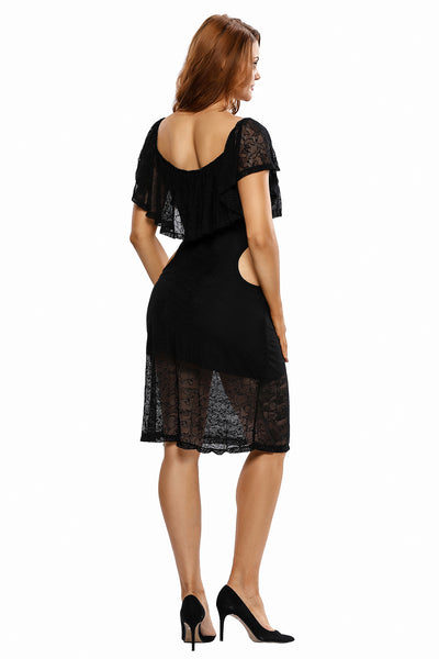 Black Lace Ruffled Off Shoulder Cut Out Vintage Dress