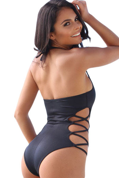 Black Lace Up One Piece with Open Loop Neck Straps