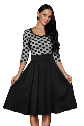 Black Polka Dots Scoop Neck Sleeved Casual Swing Dress