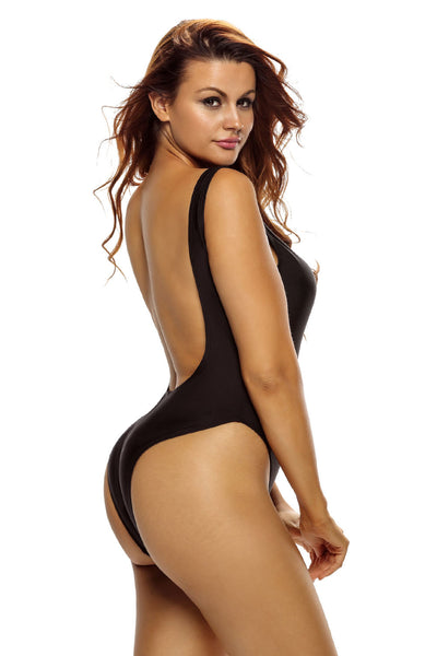 Black Sheer Mesh Plunge High Cut Out One Piece Swimwear