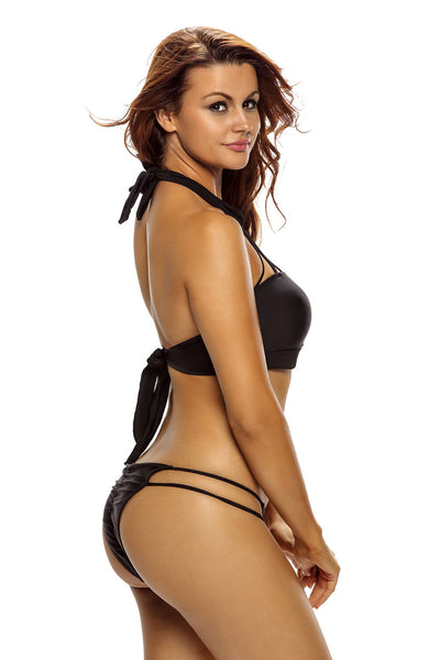 Black Shirr Strappy High Neck Bikini Swimsuit