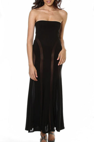 Black Strapless Mesh Insert Convertible Maxi Dress