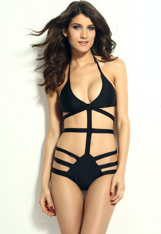 Black Strappy Cutout Monokini