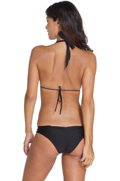 Black Stylish Gold Ring Detail Strappy Bikini Swimsuit