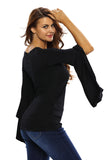 Black Twisted Plunge Long-Sleeve Top