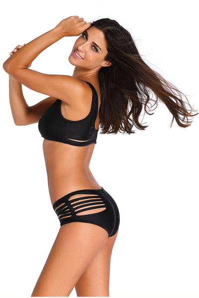 Black Two Piece Strappy Cutout Bikini