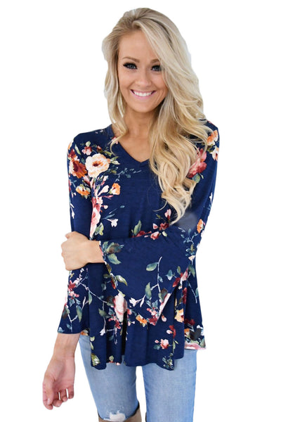 Blue Bell Sleeve Floral Print Top