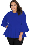 Blue Crochet Insert Bell Sleeve Plus Size Top