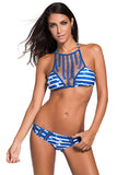 Blue Hollowing Braided High Neck Two Piece Swimsuit