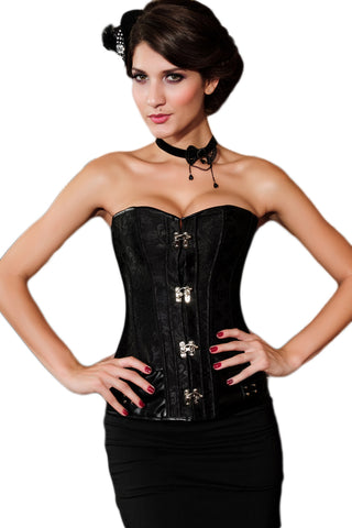 Brocade Steampunk Corset with Clasp Fasteners