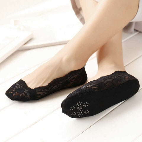 Women's Black Lace Loafer Anti Slip/Skid Silicon Sock (Pack of 1)