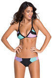 Candy Color Block Triangular Cheeky Scrunch Butt Bikini