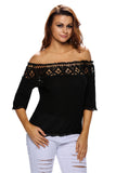 Crochet Lace Trim Black Off Shoulder Crepe Blouse
