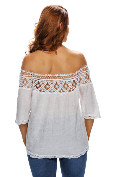 Crochet Lace Trim White Off Shoulder Crepe Blouse