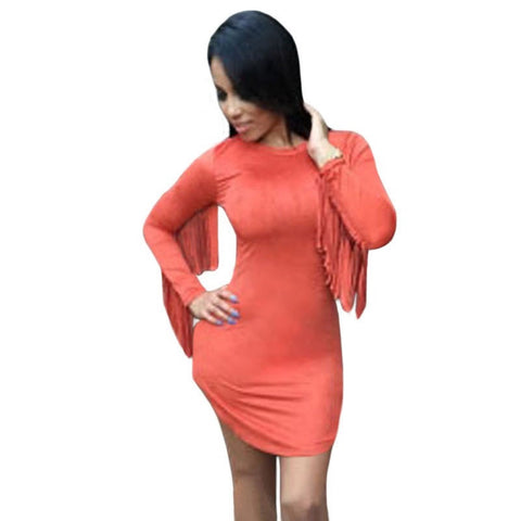 Orange Fringed Long Sleeves Faux Suede Mini Dress Top