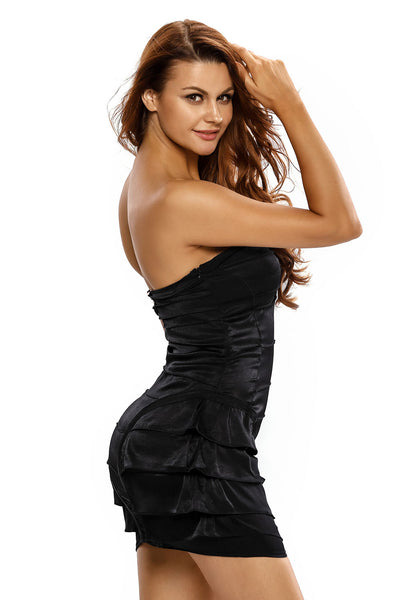 Funky Strapless Black Dress