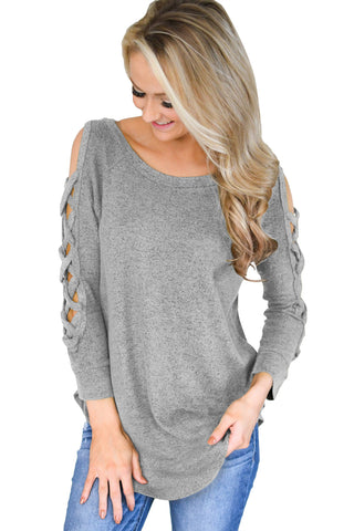 Gray Hollow-out Crisscross Shoulder Top for Women