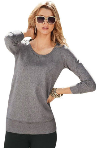 Gray Scoop Neck Long Sleeve Sweatshirt