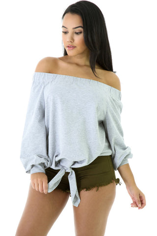 Gray Stylish Long Sleeve Off-shoulder Bow Top