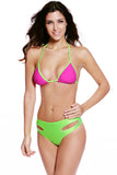 Green Pink Sexy Two Tone High Waist Two Piece Swimsuit