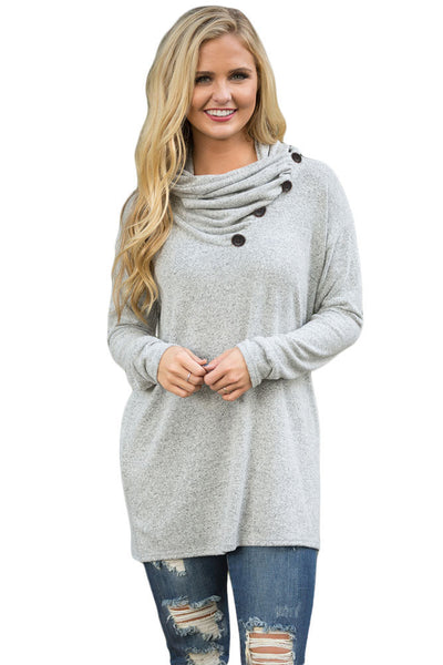 Grey Buttoned Cowl Neck Long Top