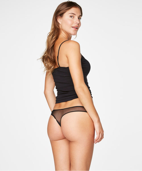 Women's Black Mesh Thong with Lace Detail