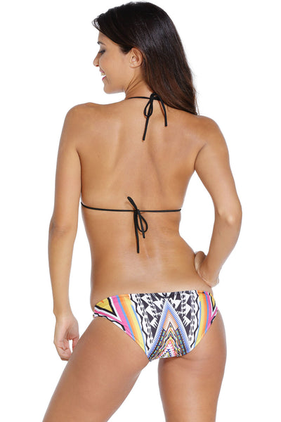 Halter Sliding Triangular Bikini with Printed Bottom