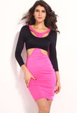 Rosy Black Two Tone Cut Out Bodycon Dress