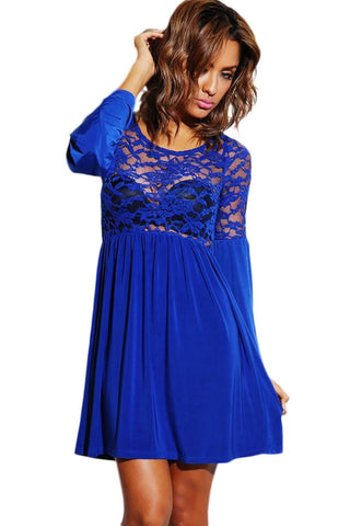 Royal Blue Sheer Velvet Bell Sleeve Retro Party Skater Dress