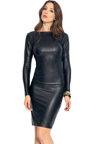 Reversible Faux Leather Midi Dress