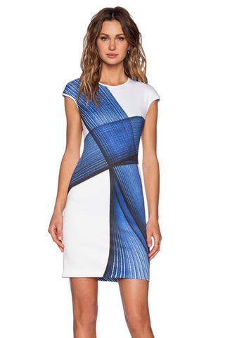 Blue and White Women Stylish Bodycon Dress