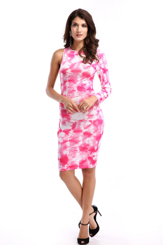 Single Long Sleeve Pink Backless Bandage Dress