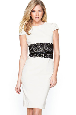 Lace Waistband Midi Dress with Belt Midi Dress