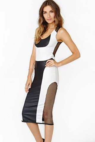 Black White Faux Mesh Dress