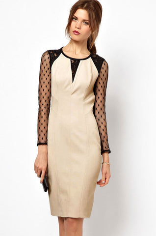 Stylish Women's Pencil Midi Dress with Sheer Long Sleeves
