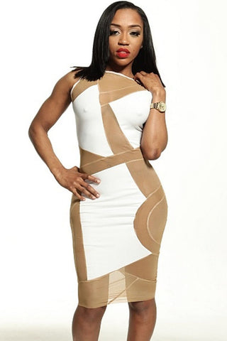 White Stretch Mesh Club Midi Dress