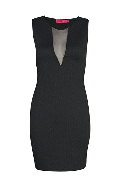 Black Textured Mesh Front Bodycon Dress
