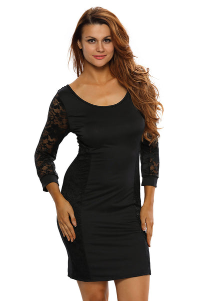 Sexy Party Lace Vintage Dress in Black