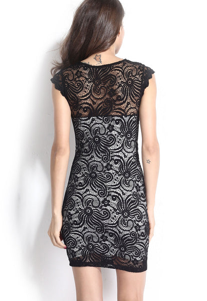 Gorgeous Stretch Flowery Pattern Lace Vintage Dress