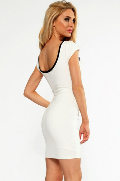 White Black Cross Over Front Bodycon Dress