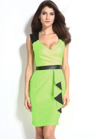 Green Black V Neckline Bodycon Dress