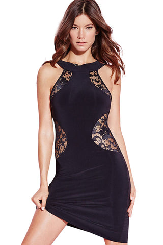 Brilliant Black Lace Insert Mini Dress