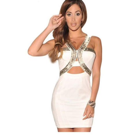 White Silver Embellished Cut Out Mini Dress