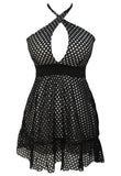 Insterglam Laser Cut Halter Neck Twist Dress