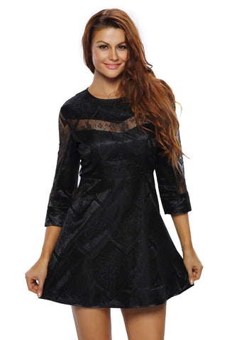 Black Sheer Lace Overlay Sleeved Skater Dress