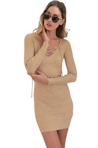 Apricot Lace Up V Neck Long Sleeve Rib Knit Dress