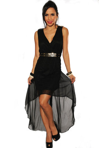 Black Gold Spikes Belted High Low Dress